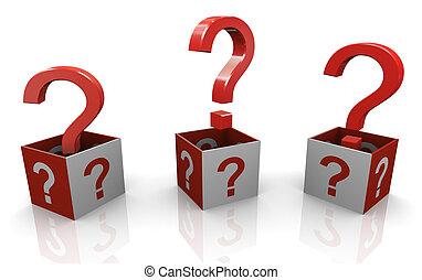 3, spørgsmål markerer