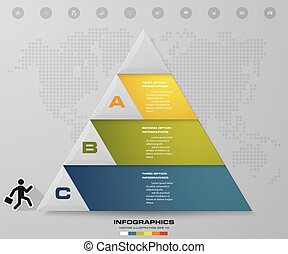 3 steps pyramid with free space for text on each level.