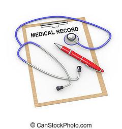 3, stetoskop, og, medicinsk registrer