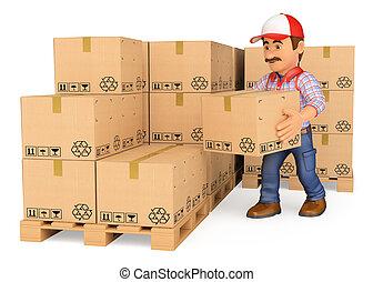 3, storekeeper, stakke, bokse, ind, en, opmagasinere