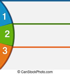 3, stroken, en, kleurrijke, halve cirkel