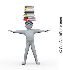 3, student, med, stapla av böcker, på, h