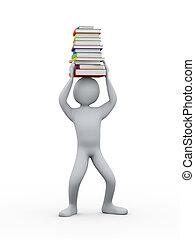 3, student, med, stapla av böcker, på, huvud