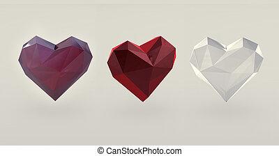 3 stylized crystal hearts