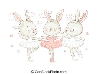 3 Sweet ballerina bunnys illustration vector for print design and other uses. White dancing rabbits illuatration. Can be used for t-shirt print, kids wear fashion design, baby shower invitation card.
