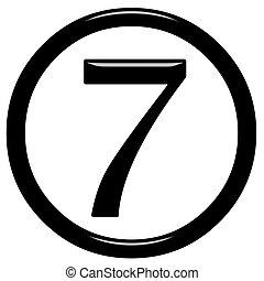3, szám 7, keretezett