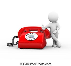 3, személy, álló, noha, rotary telefon