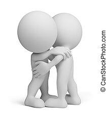 3, személy, -, barátságos, átkarolás