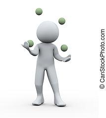 3, személy, jongleur