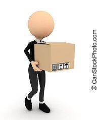 3, személy, noha, kartondoboz, csomag