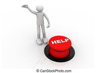 3, személy, noha, piros gombolódik, help;
