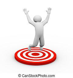 3, személy, siker, céltábla, ugrás