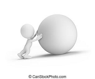 3, személy, tol, a, gömb