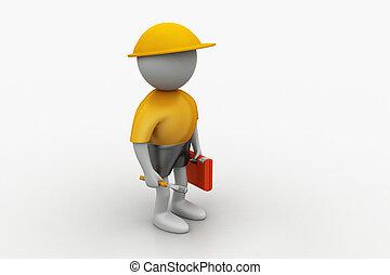 3, szerkesztés munkás, noha, csavarkulcs, és, biztonság sisak