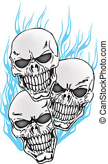 3 Tattoo Skulls with Flames