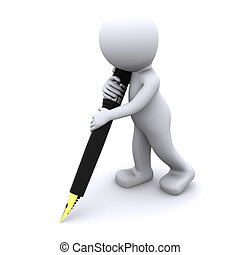3, tecken, skrift, med, stor, penna