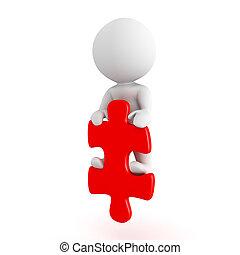 3, tecken, stående, på, röd, pussel del
