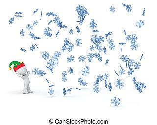 3, tecken, uppe titta vid, stjärnfall, vinter, snöflingor