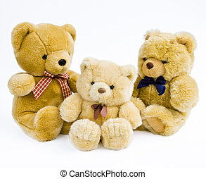 3 Teddy bears isolated on white