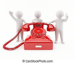 3, telefon, röd, folk