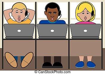 3 Telemarketers - Three different telemarketers working in...