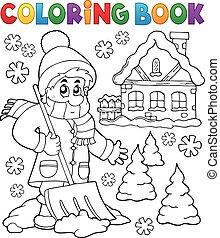 3, tema, inverno, libro colorante