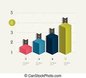 3, tervezés, graph., infographics, chart.