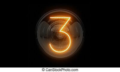 3, three., 表示器, nixie, digit., 表示器, 3d., 3d, チューブ, ディジット, ガス, 解任, lamps., レンダリング
