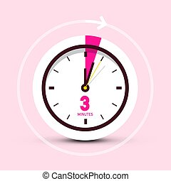 3 Three Minutes Clock Icon on Pink Background