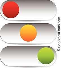 3, tillstånd, rektangulär, vippen kopplar, knapp