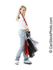 #3, tizenéves, bevásárlás, leány