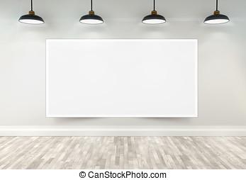 3, tom, affisch, in, rum, med, innertak, lampan