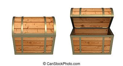 3, trä låda