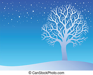 3, träd vinter, snö
