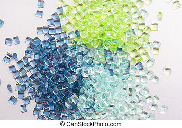 3 transparent polymer resins - three different polymer...