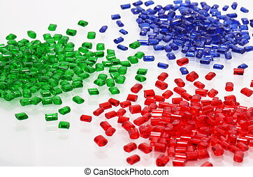 3 transparent polymer resins - red, blue and green...