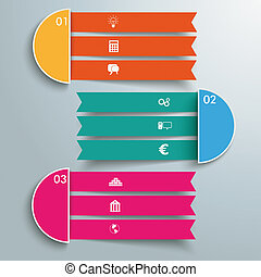 3 Triple Banners - Infographic design on the grey...