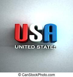 3, united states, breve, glose, ind, rød, og, blue., tegn, ind, mur