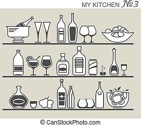 #3, utensilios, cocina, estantes