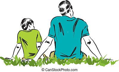 3, vader, illustratie, zoon