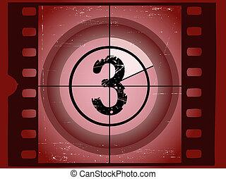 3, vecchio, film, -, graffiato, rosso, conto alla rovescia