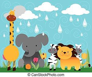 3, vecteur, animaux, jungle, dessin animé