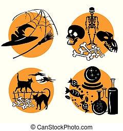 3, vecteur, ensemble, halloween