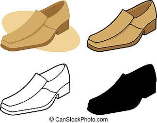 3, vecteur, mâle, chaussure