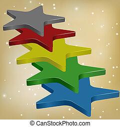 3, vector, estrellas, d