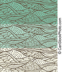 3 Vector seamless funky abstract patterns with waves, fully editable eps 8 file with clipping msks and patterns in swatch menu
