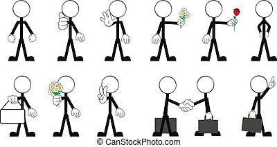 3, vektor, stock, pictograms, mann