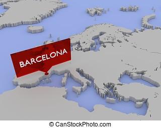 3, verden kort, mærkaten, -, barcelona
