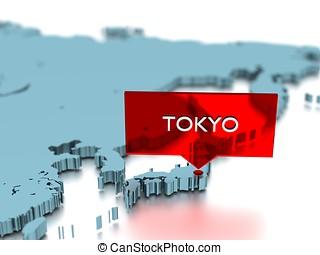 3, verden kort, mærkaten, -, byen, i, tokyo