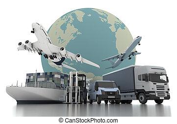 3, verden vide, last, transport, begreb